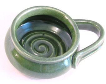 Shaving Mug with Ridges for Good Soap Lather, Comfort Shave - Bright Green, Handled