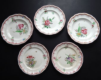 5 Antique French Plates c.1900-1930 Hand Painted Flowers and Insects