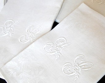8 Vintage French Damask Napkins of Fine Quality with Hand Embroidered Monogram