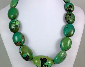 Giant Turquoise Bead Necklace with Sterling Silver S Clasp