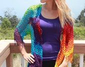 Tie Dye Crochet tank/ swim coverup vest with fringe