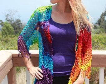 Tie Dye Crochet Tank | Swim Coverup Vest with Fringe