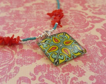 Turquoise Red and Yellow Gold Spanish Tile, Catalina Island, Mexican and Mediterranean Tile Inspired Glass and Antique Brass Necklace 1013