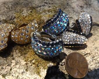 Aurora Borealis ,Crystal clip on earrings, Vintage, lot of 3 clip on earrings, Rhinestone earrings