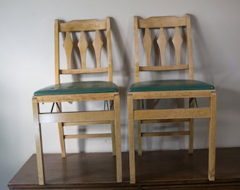 Pair of Antique Stakmore Wooden Folding Chairs with Green Seats