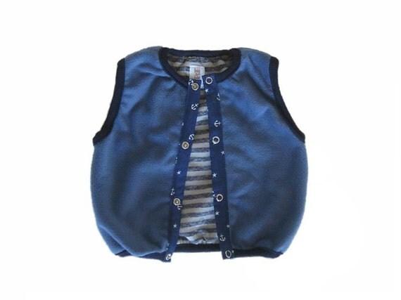 Baby Boy Vest, Soft Fleece Vest- Reversible, Blue Fleece Vest