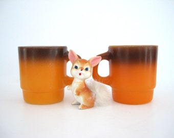 Vintage Mug Set Fire King Coffee Mug Stackable Orange Anchor Hocking Glass Tea Mugs Brown Shaded Top 1970s Kitchen Decor