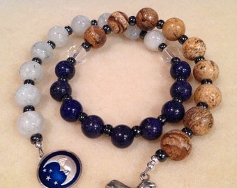 Egyptian Nights Prayer Beads Rosary - Lapis, Rainbow Moonstone, Picture Jasper 10mm Beads with Antique Sterling Silver Moon & Sphynx Charms