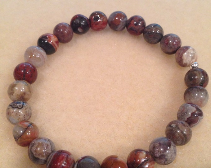 Laguna Crazy Lace Agate 8mm Round Bead Bracelet with Sterling Silver Accent