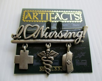 Nurse gift- Vintage JJ  Jonette Jewelry pin brooch- Artifacts 1986 made in the USA- collectible New Old Stock