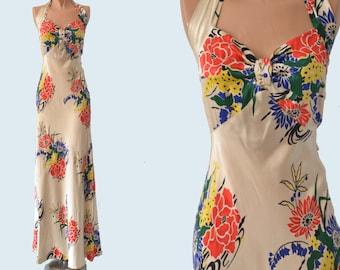 1930s Silk Floral Dress size XS
