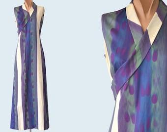 Handmade Purple Striped Silk Dress size S