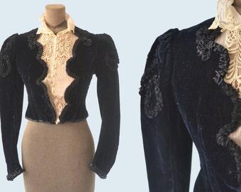 Black Velvet Victorian Blouse size XS