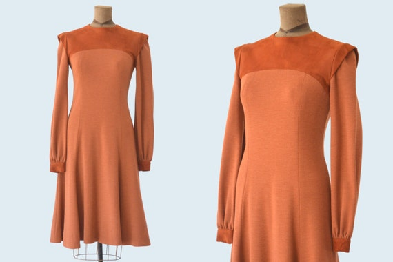 1960s Mod Burnt Orange Suede Sweater Dress size M