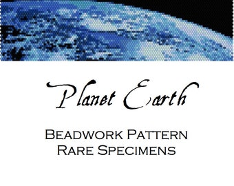 Planet Earth Peyote Stitch Beadwork Pattern - Cuff Bracelet - Bookmark - PDF instant download