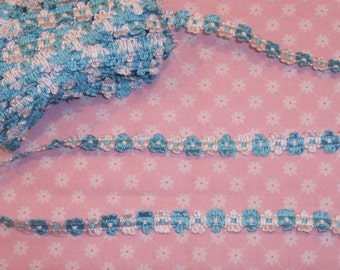 "3 Yards 1/2"" wide Turquoise and White PopCorn Crochet Trim for  Doll Clothes"