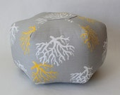 Small Pouf / Grey Coral / foot stool /ottoman / floor cushion / Beach decor / fun home decoration / Coral Pouf / Beach House / Yellow coral