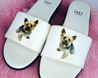 90's Yorkshire Terrier Doggy Wedge Slide on Sandals // 7