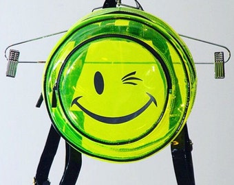 90's Clear Neon Joe Boxer Winking Smiley Face Vinyl Backpack