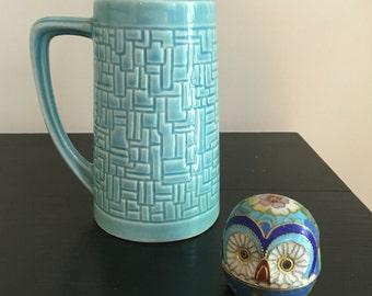 McCoy Pottery MCP USA Tall Handled Mug Arts and Crafts Pottery Beer Stein
