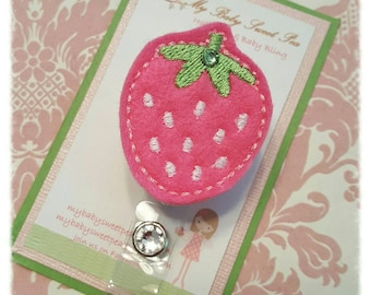 Badge reel - strawberry badge reel - id holder