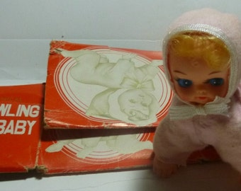 Crawling Baby Vintage Wind Up Toy, 1960s (for display; non-working)