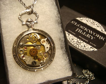 Clockwork Steampunk Inspired Pocket Watch Pendant Necklace -Made with Real Watch Parts (1996)
