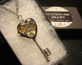 Steampunk Style Clockwork Heart  Key Pendant Necklace in Antique Silver (1997)
