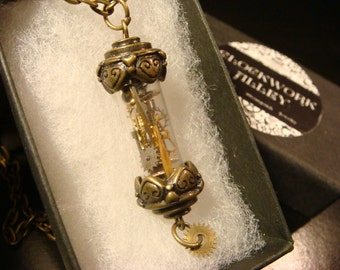 Woodland Brass Vial with Gears and  Watch Parts Steampunk Style Necklace  (2188)