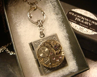 Steampunk Neo Victorian Clockwork Watch Movement  Book LOCKET Necklace (2199)