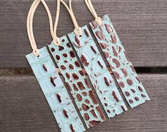 Leather Bookmark - Mint Aqua Faux Alligator Leather - Blue Leather Bookmark - Ready to Ship