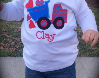 Personalized Monogrammed Boutique Valentines Day Dump Truck Applique Boys Shirt