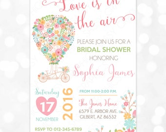 Hot Air Balloon Bridal Shower Invitation Floral Bridal Shower Love Is In The Air Wedding Shower Mint Pink Green Printable Invite PDF (#41)