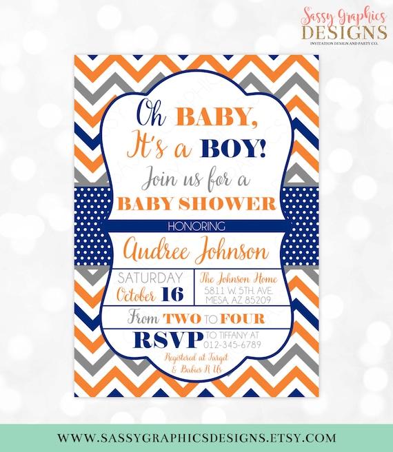 Baby Boy Shower Invitation Chevron Polka Dots Orange Navy Blue Baby