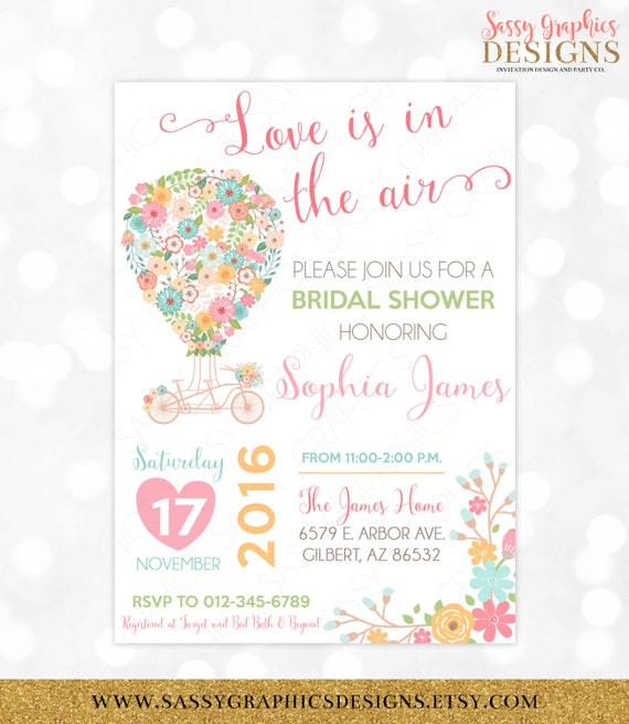 Hot Air Balloon Bridal Shower Invitation Floral Bridal Shower