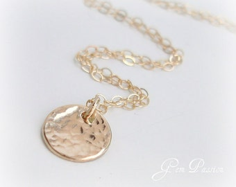 SET of 4 14k Gold Filled Disc Necklace Hammered Small Disc Wedding Bridesmaid Gift Handmade Personalized Initial Necklace Bulk Discount