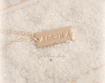 Personalized Gold Bar Tag Necklace, Name Plate, 14k Gold filled, Custom Hand Stamped, Hawaii Necklace, Beach Necklace, Live Aloha NEW