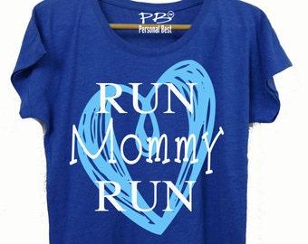 Running  slim fit shirt for women's - running shirt for women's - running shirt - Run mommy heart shirt