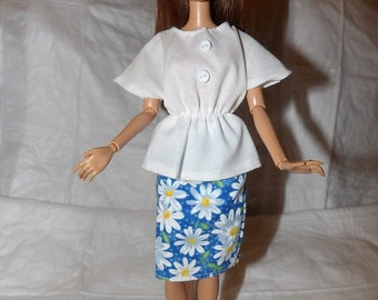 White bat wing sleeve top and blue & white Daisy skirt for Fashion Dolls - ed839