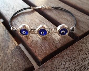 Glass Evil Eye Silver Bracelet