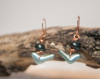 Blue Bird Copper Earrings Bird Earrings Blue Earrings Blue Copper Earrings - Little Blue Bird Earrings - Ardent Life Art Jewelry