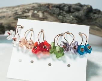 Copper Hook Flower Earrings Flower Hook Earrings Fun Flower Earrings Art Earrings Springtime Flowers