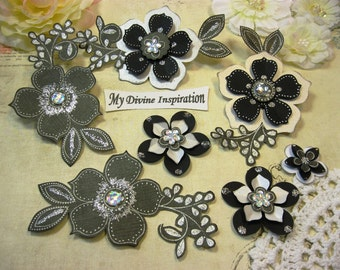 Elegant Chic Black and White Paper Embellishments and Paper Flowers for Scrapbooking Cards Mini Albums and Papercrafts