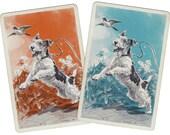 TERRIER FUN (2) Vintage Single Swap Playing Cards Paper Ephemera Scrapbook