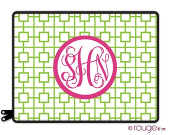 "SQUARES REVERSE personalized laptop sleeve 13"" or 15"" - monogram - NEW elastic tabs give you the option to keep the sleeve on while you work"