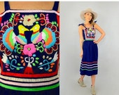 WINTER SALE 90's Embroidered Mexican Dress