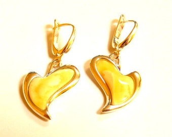 "Baltic Amber Heart Earrings Butterscotch Dangling 1.38"" 925 Silver"