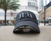 SALE 11:11 Black Baseball Hat / Dad Hat / Embroidered Baseball Cap / Unconstructed / Designed by GAG THREADS