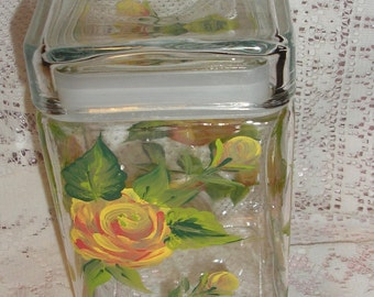 Hand Painted Air Tight Jar Shabby Chic Decorater Jar