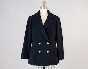 1960s Vintage Navy Wool Peacoat with Gold Buttons by Saks Fifth Avenue (S, M) 60s Short Winter Coat